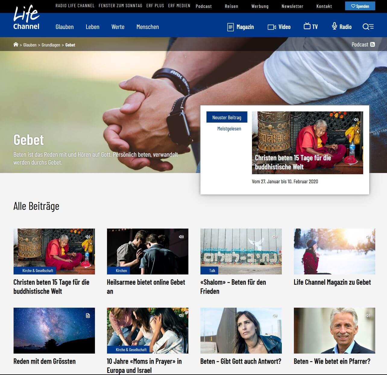 Life Channel.ch: Dossier Beten, Gebet