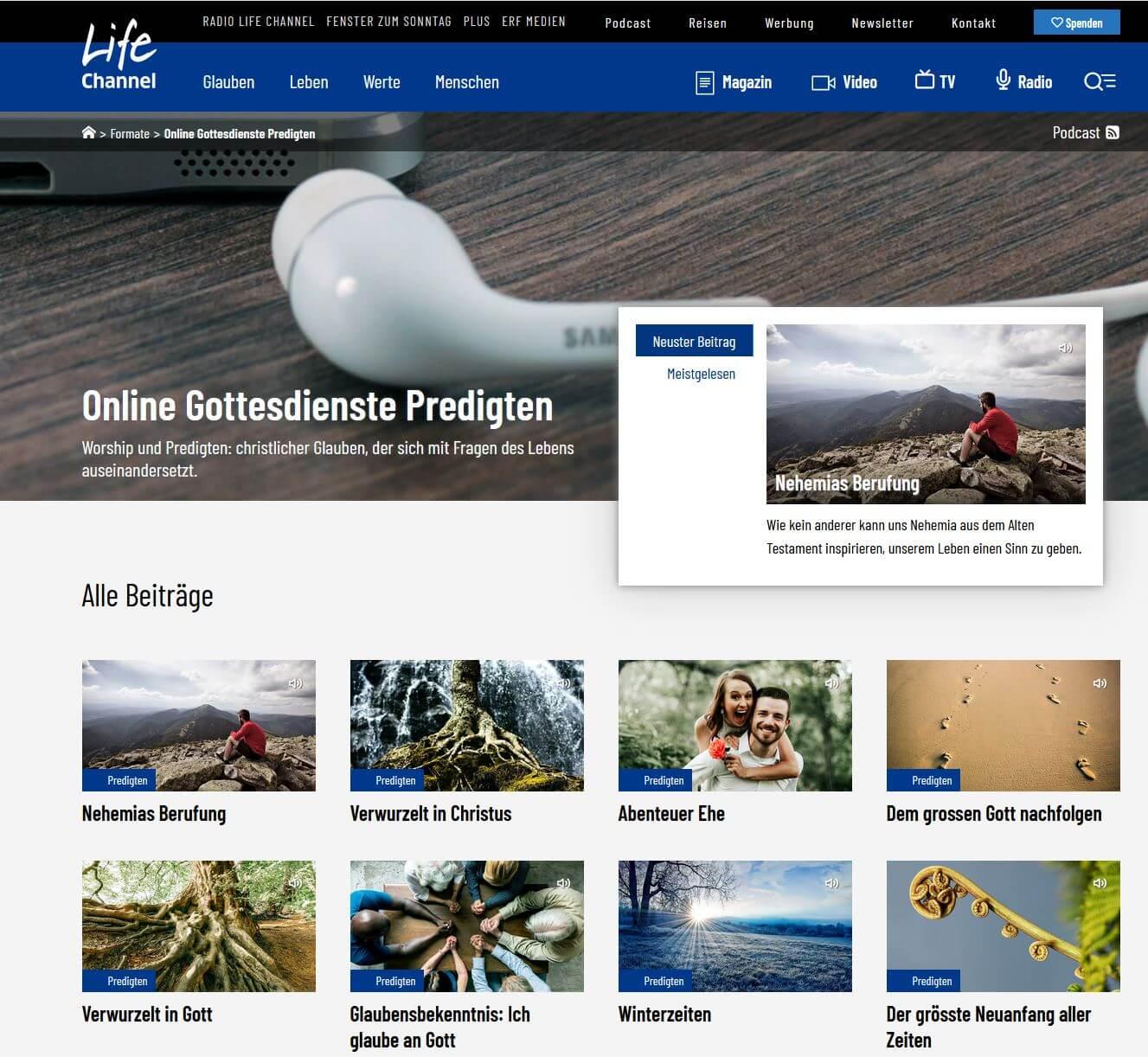 Online Predigten / Gottesdienste auf Radio Life Channel