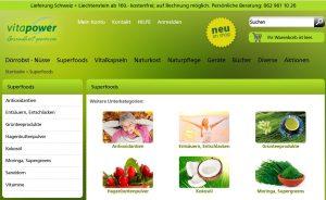 Superfoods aus dem Gesundheitsshop von Vitapower
