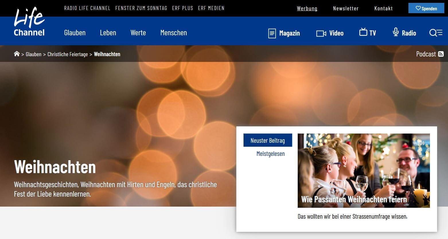Weihnachten und Weihnachtsgeschichten auf Radio Lifechannel
